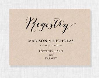 wedding registry card template printable registry card wedding gift list card wedding enclosures