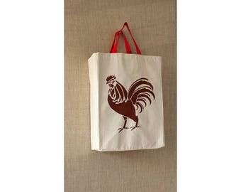 Canvas Bag, Rooster, Reusable Grocery Bag, Eco Friendly Bag, Farmers Market Bag, Grocery Bag, Reusable Bag, Tote Bag