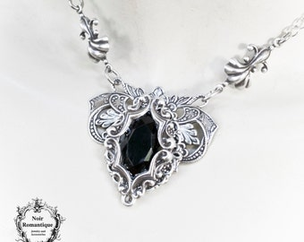 Silver victorian gothic flourish necklace-victorian gothic jewelry