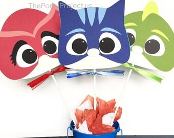 PJ Masks superhero faces centerpiece | PJMasks birthday | Pajama party | Pjmasks nursery decor | Pj Masks candy bar party centerpiece!