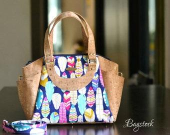 Cork leather handbag, Cork fabric bag, fabric handbags, travel bag, gift women, College dorm girl, Vegan purse, Annette handbag