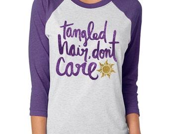 Tangled Hair, Don't Care - Tangled Shirt - Disney Glitter Shirt