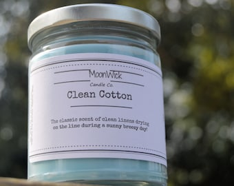 Clean Cotton Natural Soy Candle | 8oz Jar | Highly Scented | Clean Cotton | Clean Cotton Candle | Cotton Candle | Fresh Soy Candle