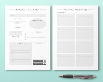 Project Planner, Printable Planner Inserts, Productivity Organizer, Minimal Project Log, Printable Planner Page, Productivity Idea Note