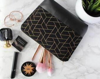 Black & Gold Makeup Bag, Waterproof Cosmetic Bag, Geometric Makeup Bag, Black Travel Bag