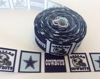 Dallas cowboys Grosgrain ribbons, Dallas ribbons, Football Ribbons, football ribbons, yardline ribbons 7/8 inch Grosgrain ribbons
