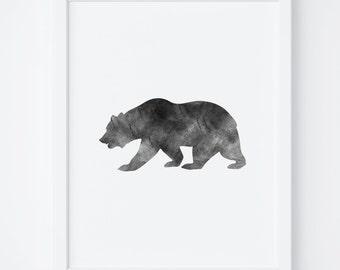 Black and White Bear Print, Bear Art, Digital Art, Printable Wall Art, Digital Print, Instant Download, Home Decor, Wall Art, Printable Art