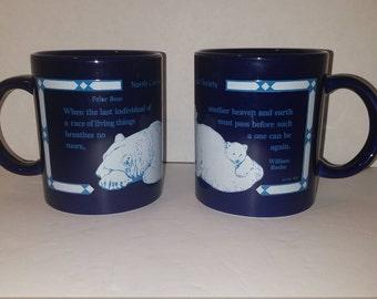 Set of 2 North Carolina Zoological Society Polar Bear Coffee Mugs