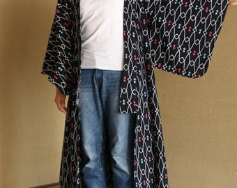 Navy blue Yukata with blue and pink dot, Vintage Japanese cloths with some stains