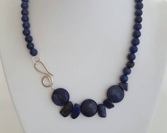 Dark lapis lazuli beaded necklace with featured clasp