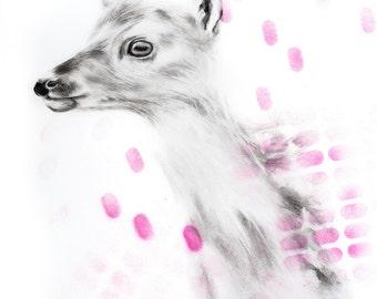 Pink Fawn Drawing Charcoal Deer Animal Spray Paint Art Print