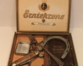 Vintage German Cigar Box - German Trinkets - Baptism Book - Prayer Book