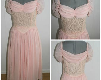 Vintage 1950s Pink Dress Women, 50s Ballgown, 50s Dress, Sheer Dress, Lace, Prom, Small, Medium, 1950s,