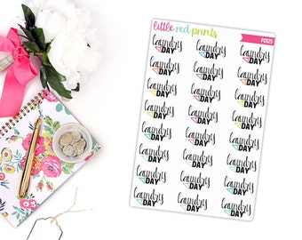 Laundry Day Planner Stickers for the Erin Condren Life Planner, Laundry Sticker, Laundry Planner Sticker - [P0125]