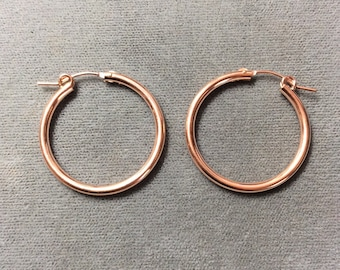 2x27mm 14K Rose Gold Filled Hoop Earring, Two pieces