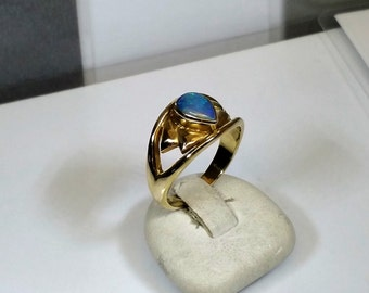 Old designer ring 333 gold Opal blue noble GR220