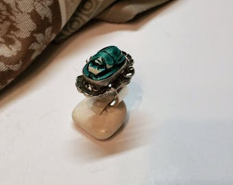18.2 mm ring 925 Silver scarab beetle Egypt handmade SK100