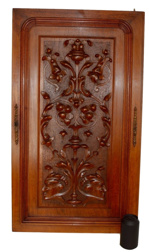 French antique neoclassical large carved salvaged wood