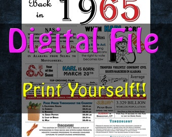 1965 Personalized Birthday Poster, 1965 History - DIGITAL FILE!!