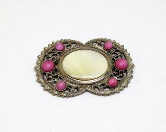 Mother of Pearl Brooch, Mother of Pearl Cabechon Brooch, MOP and Pink Bead Brooch, Silver Filigree Bead Brooch
