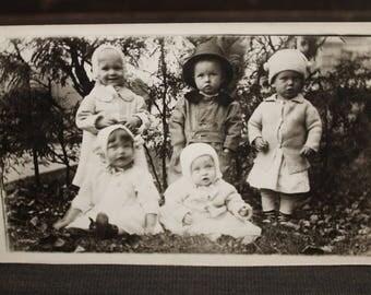 RPPC, Real Photo Postcard, Children's Fashion, Edwardian Children, 1904-1920, Unposted, Black & White, Vintage Postcard
