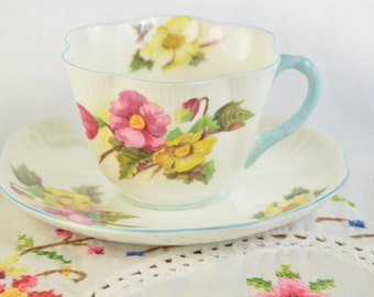 Shelley Begonia dainty tea cup and saucer