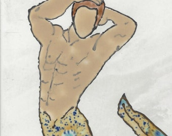 Hunky Merman #201 Hand Painted Kiln Fired Decorative Ceramic Wall Art Tile 6 x 8