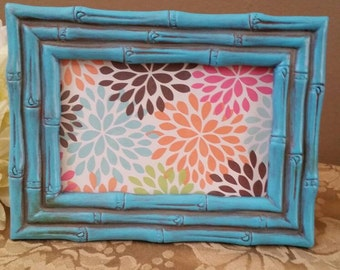 Aqua Picture Frame; Rustic Picture Frame; Painted and Distressed Aqua Picture Frame; Aqua Frame