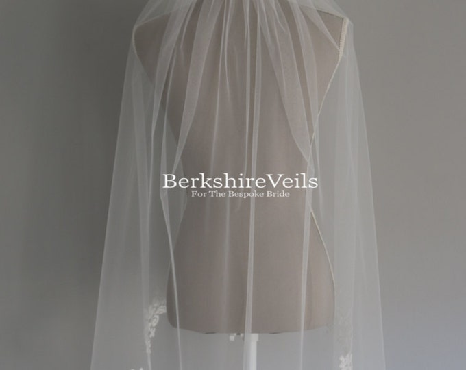 Featured listing image: Fingertip length wedding veil finished with applique lace