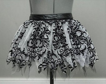 Vegan Leather and Lace  Tutu Skirt