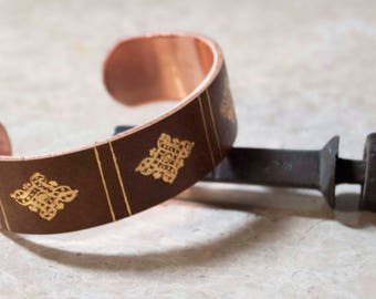 Book Spine Bracelet- brown, hand tooled, gold, leather, vintage style, adjustable, cuff bracelet, book jewelry