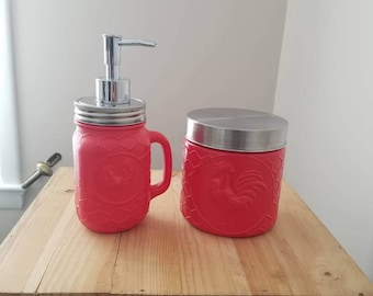 Red Kitchen Decor. Red Rooster Soap Pump. Red Rooster Sugar Jar. Red Kitchen