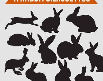 11 Rabbit Silhouette Images | Digital Clipart Images, Clipart Design Elements, Instant Download, Black Silhouette Clip art