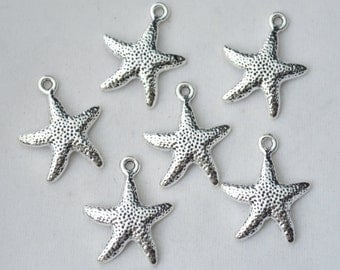 8 Pcs Starfish Charms Antique Silver Tone  20x25mm - YD0569