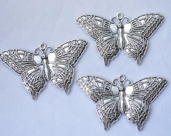 2 Pcs Large Butterfly Pendants Antique Silver Tone 63x38mm - YD0224
