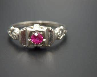 antique, art deco 18k white gold ruby ring, size 7