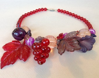 Gorgeous Red Pink Purple and Smoke Lucite Fruit and Bead Necklace