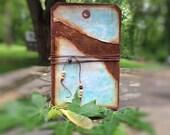 Rustic Art Journal - Writing Journal -  Scrapbook -  Junk Journal - Tag Shaped Journal - Travel Journal