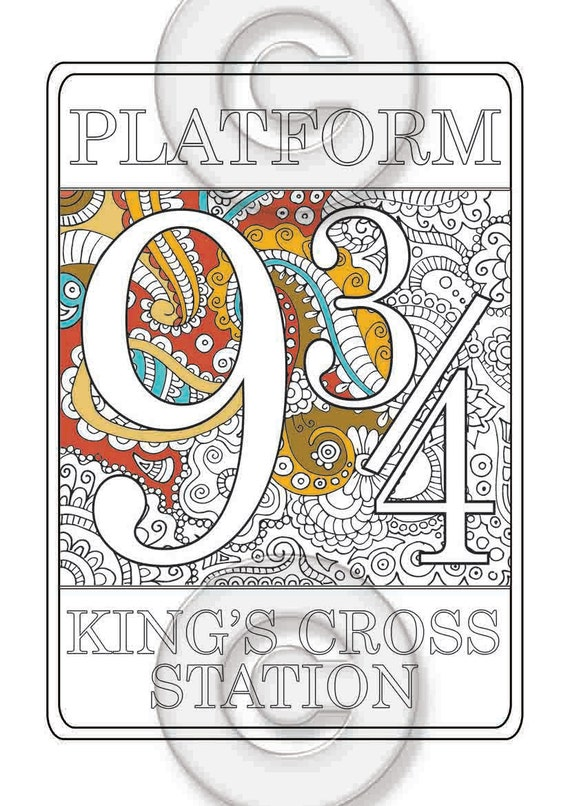 Platform 9 3 4 Nine And Three Quarters Coloring Page Harry Potter Pages Printable For Adults