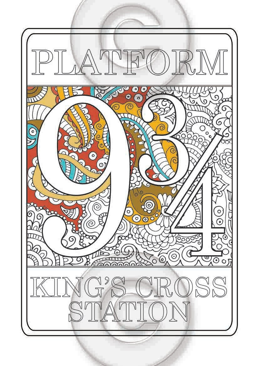 platform 9 3 4 nine and three quarters coloring page harry