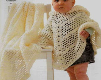 """King Cole Crochet Pattern 3343~Hooded Poncho & Shawl~DK and 4ply~20-24"""""""