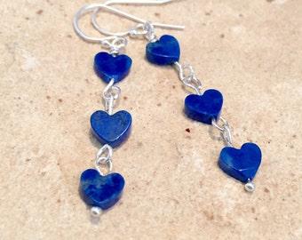 Blue earrings, heart earrings, lapis earrings, gemstone earrings, cute earrings, silver drop earrings, silver dangle earrings, gift for wife