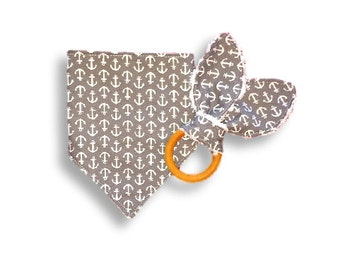 Drool Bib & Teething Ring <<Gray Anchors>> Baby/Toddler/Teething Toy/Drool/Bunny Ears//White//Nautical