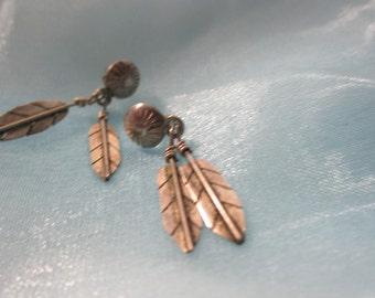 Silver  Feathers Design Dangle Pierced Earrings