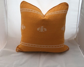 """20"""" Vintage Cotton Embroidered Tangerine Feather Down Decorative Throw Pillow"""