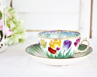 "Vintage Booth's ""Tulip"" Teacup and Saucer - Tea Party Teacup, Floral Teacup, English Teacup, Pretty Teacup, Booths Silicon China Teacup"