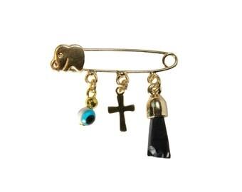 Evil eye brooch Diaper cross pin. Good luck pin. Amulet for evil eye  Baby brooch Brooches Good Luck Protection Talisman Amulet for evil eye
