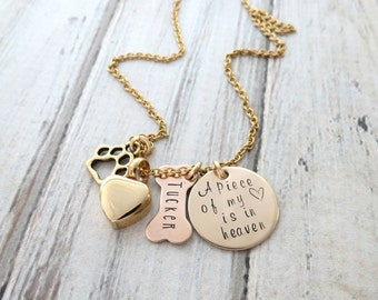 Personalized Necklace - Dog Memorial - Dog Bone - Gold Remembrance Heart Necklace - Dogs Ashes - Cremation Urn Necklace - Paw Charm