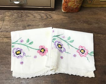 Vintage Pillowcases Set of 2 Hand Embroidered Purple Pink