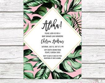 Tropical Baby Shower Invitation, Luau Baby Shower Invitation, Palm Tree Leaf Baby Shower Invite, Tropical Invitation, Printable Invite